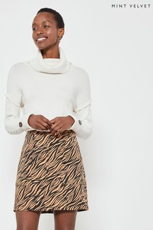 Mint Velvet Animal Zebra Jacquard A-Line Skirt
