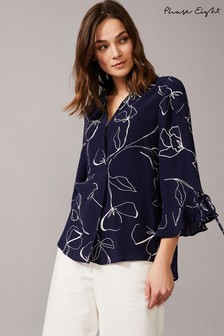 Phase Eight Blue Linear Blouse