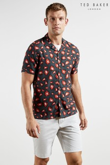 Ted Baker Short Sleeve Bold Print Revere Collar Shirt