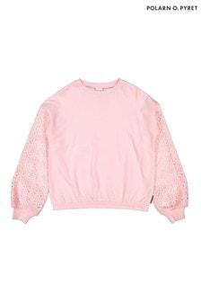 Polarn O. Pyret Pink Organic Cotton Lace Sleeve Sweatshirt