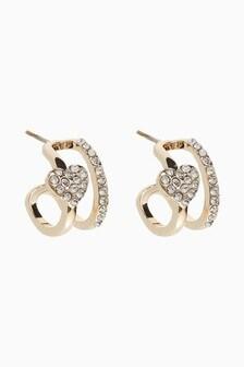 Pave Heart Huggie Hoop Earrings