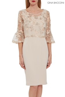 Gina Bacconi Nola Embroidery Top And Moss Crepe Dress