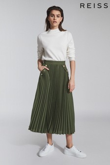 Reiss Green Lina Pleated Midi Skirt