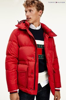 Tommy Hilfiger Red Down Hooded Jacket