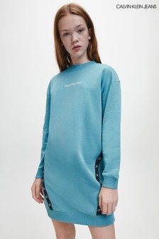Calvin Klein Jeans Blue Monogram Tape Sweatshirt Dress
