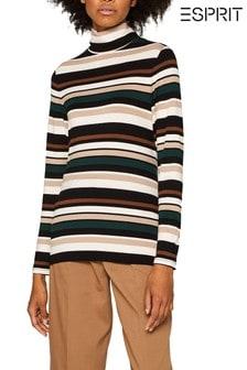 Esprit綠色條紋彈力高翻領T恤
