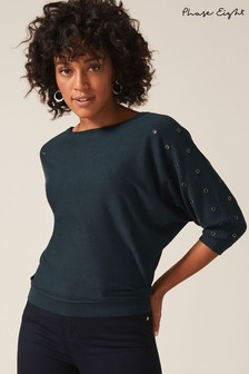 Phase Eight Green Cristine Eyelet Knit Jumper