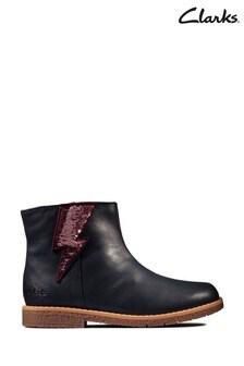 Clarks Navy Leather Comet Stripe K Boots