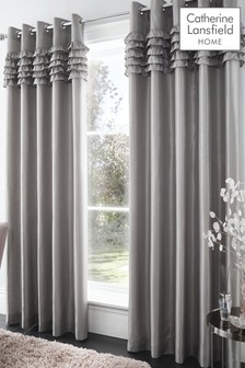Catherine Lansfield Silver Flamenco Eyelet Curtains