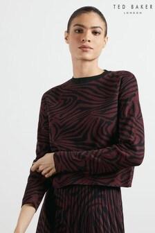 Ted Baker Red Martiy Zebra Jacquard Sweater