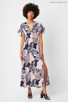 French Connection Blue Asha Drape V-Neck Wrap Maxi Dress
