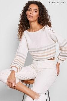Mint Velvet White Cotton Stripe Jumper