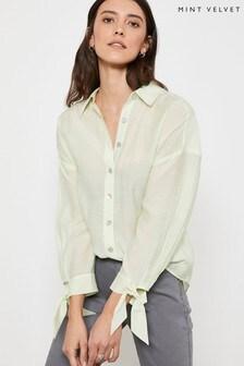 Mint Velvet Green Tie Sleeve Cocoon Shirt