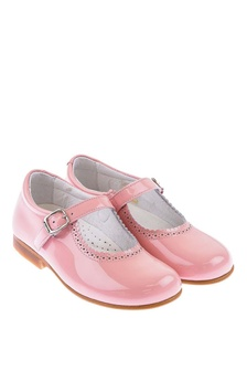Andanines Patent Pink Scalloped Edge Mary Jane Shoes