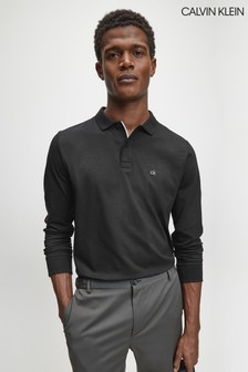 Calvin Klein Black Liquid Touch Long Sleeve Poloshirt