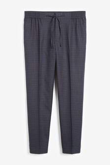 Slim Fit Check Trousers With Elasticated Waist