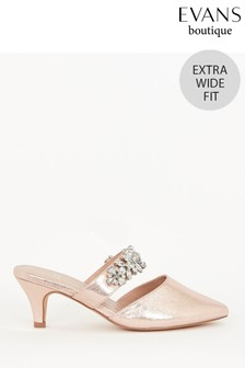 Evans Extra Wide Fit Pink Embellished Kitten Heel Shoes