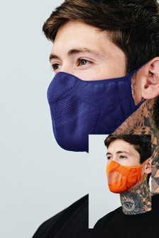 Hype. Adults Navy/Orange Knit Face Coverings Two Pack