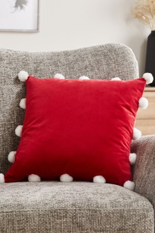 Christmas Faux Fur Pom Edge Cushion