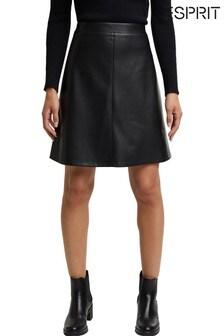 Esprit Womens Black Faux Leather Mini Skirt