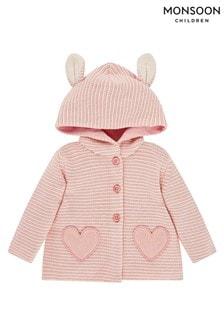 Monsoon Pink Newborn Cardigan