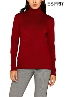 Esprit Red Long Sleeved Roll Neck T-Shirt