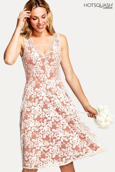 HotSquash Orange V-Neck Floral Lace Dress
