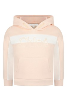 Girls Pink Cotton Hooded Sweater