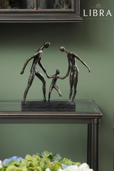 Libra Antique Bronze Family Of Three Holding Hands Sculpture