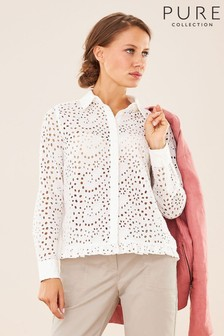 Pure Collection White Broderie Anglaise Crop Frill Shirt