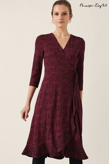 Phase Eight Red Ebony Ditsy Printed Wrap Dress
