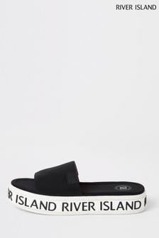 River Island Black Sport Wedge Mules