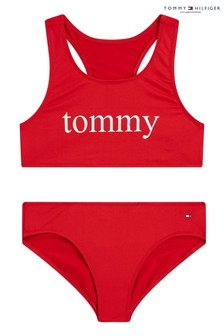 Tommy Hilfiger Red Iridescent Logo Bikini Set