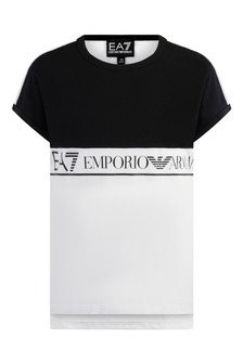 Girls White/Black Cotton Logo T-Shirt