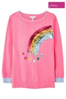Joules Pink Meryl Rainbow Intarsia Knit