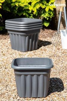 Set of 5 Wham Vista 40cm Black Plastic Square Planters