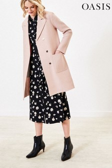 Oasis Pink Single Breasted Wool Coat