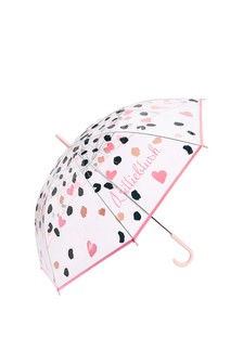 Girls Transparent Leopard & Heart Print Umbrella