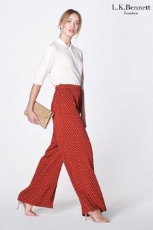 L.K.Bennett Red Zazou Wide Leg Trousers
