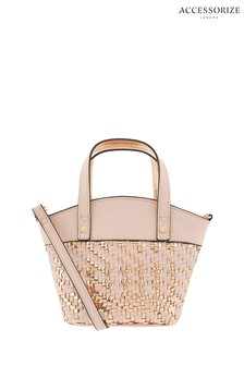 Accessorize Pink Woven Mini Bucket Bag