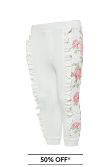 Monnalisa Baby Girls White Cotton Joggers