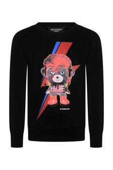 Boys Black Cotton Character Print Sweatshirt
