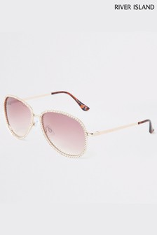 River Island Gold Joleen Grad Sunglasses