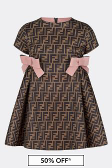 Girls Brown/Pink Neoprene Logo Dress