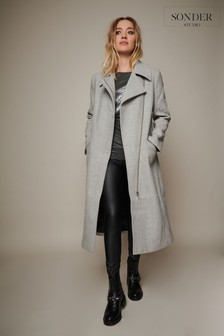Sonder Studio Grey Longline Wool Biker Coat