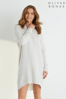 Oliver Bonas Grey Curved Hem Knitted Jumper Dress