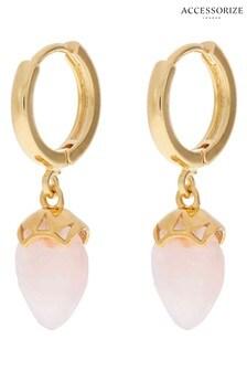 Accessorize Pink Healing Stones Drop Huggie Hoops