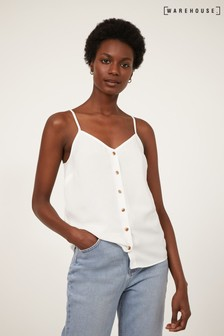 Warehouse White Button Front Camisole