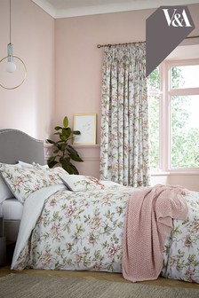 V&A Peony Blossom Pencil Pleat Curtains