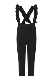 Girls Charcoal Trousers With Frilly Straps